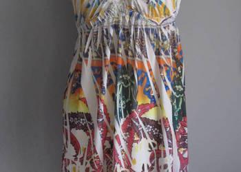 Sukienka letnia zwiewna z dużym dekoltem kolorowa 34