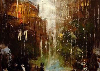 Miasto w deszczu  - 30x40 Obraz olejny namalowany szpachelką