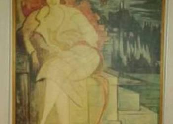 portret żony obraz chwistek  40x60 rama reprodukcja PRL