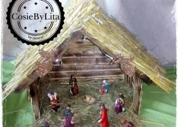 Szopka bożonarodzeniowa z figurkami Rękodzieło polecam !!