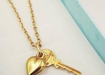 f9ea29d29c7734 Złoty damski łańcuszek 585 + zawieszka serce, kluczyk …