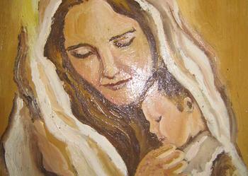 Obrazek olejny ,, Matka boska,,