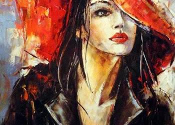 Dziewczyna w kapeluszu - obraz olejny 40x50cm..