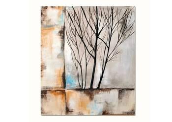 Drzewo-- abstrakcja, nowoczesny obraz ręcznie malowany