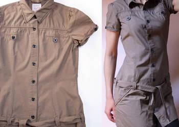 Carry 36 (S) tunika, bawełna, khaki, militarny styl/safari