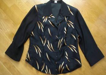 Czarna bluzka koszulowa z żółtymi listkami, rozmiar 40