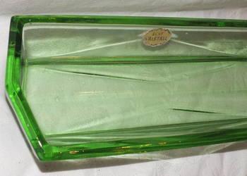 Śliczna stara taca z zielonego szkła w stylu Art Deco.