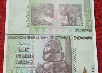 ZIMBABWE 50 TRYLIONÓW DOLARÓW Kolekcjonerski Banknot UNC