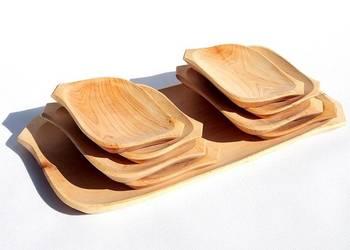 Korytko DREWNIANE + 8 talerzyków miska taca zestaw
