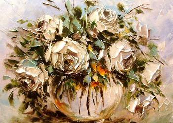 Kowalik  - Białe róże - 50x40  Obraz olejny , szpachel