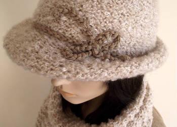 Komplet na zimę kapelusz damski melonik czapka + szalik