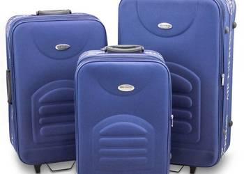 ZESTAW walizki materiałowe niebieski SET PREZENT NA ŚWIĘTA