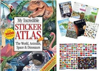 4w1 Książka z Naklejkami 1000 Zwierzęta Dinozaury Flagi Mapy
