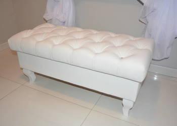 Elegancka biała PUFA pikowana Ludwik Glamour 100 cm