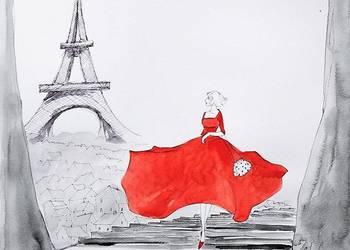 """""""PARYSKI LUZ"""" akwarela artystki A.Laube- Paryż, Wieża Eiffla"""