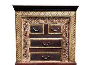 Indyjska rzeźbiona drewniana komoda z szufladkami