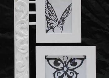 Biała drewniana ramka na 2 zdjęcia