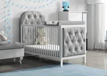 Nowe Szare łóżeczko tapicerowane 140 x 70
