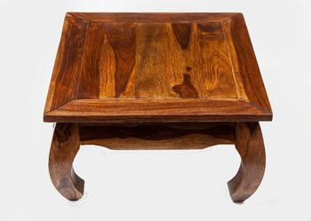 Indyjski kolonialny stolik kawowy ława opium 80x80 ręcznie robiony palisander shesham rosewood