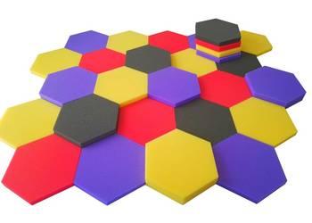panele akustyczne maty wyciszające sześciokąt kolory