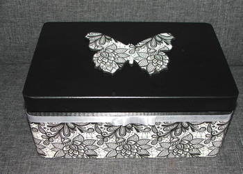 Kuferek szkatułka decoupage biel czerń