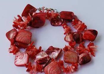 Naszyjnik masa perłowa i koral