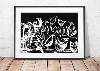 30x40 czarno biały plakat z ptakami, czarno biłay obrazek gr