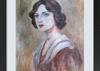 obraz, akwarela, portret kobiety, akwarele, twarz, kobieta