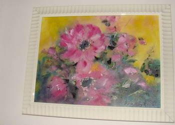 Obraz olejny Duże czerwone kwiaty