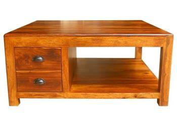 Kolonialny indyjski kwadratowy stolik kawowy palisander