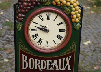 Zegar z motywem winnym - Bordeaux (drewno i metal)