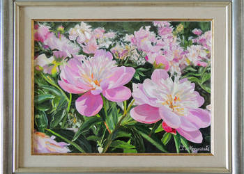 Obraz olejny kwiaty peonie piwonie w ogrodzie
