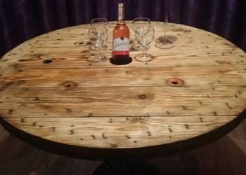 Szpula po linie z bęben blat drewno stolik ogrodowy loft