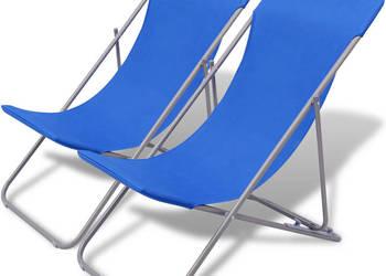 Składane leżaki plażowe 2 szt Niebieskie 41855