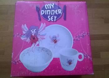 Nowy, nieużywany ceramiczny zestaw śniadaniowy dla dziecka.