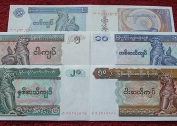 MYANMAR Kolekcjonerskie Banknoty Zestaw - 6 sztuk UNC