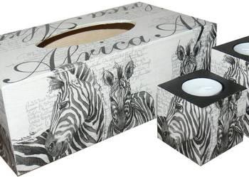 Komplet 2 świeczników zebra + chustecznik prezent Afryka