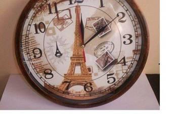 Zegar Wieża Eiffla Paryż ścienny na ścianę brązowy pokojowy