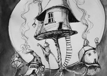 Praca akwarelą i piórkiem ''Osiedle domków osobistych''