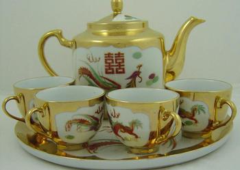 Komplet do kawy złocony Porcelana