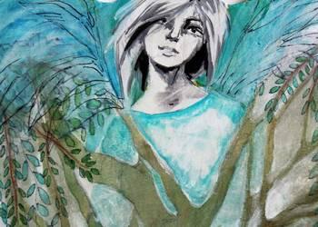Obraz malowany na drewnie ''Anioł Drzewny'' artystki A.Laube