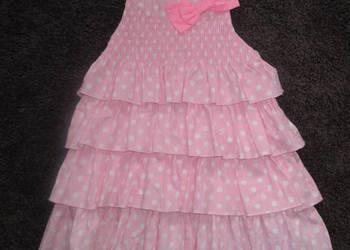 Sukienka różowa falbanki kokardka roz 86