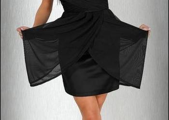 jokastyl* Czarna sukienka z szyfonem S WESELE WYPRZEDAŻ %