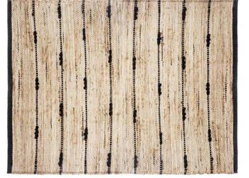 Dywan dywanik jutowy 60 x 90 cm czarny + naturalny
