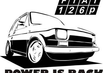 N664-naklejka Fiat 126 p POWER is BACK