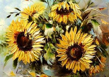 Słoneczniki - Obraz plejny 50x40  szpachla