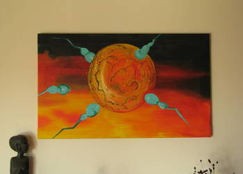 Obraz ręcznie malowany na płótnie 65x107Kosmiczna abstrakcja