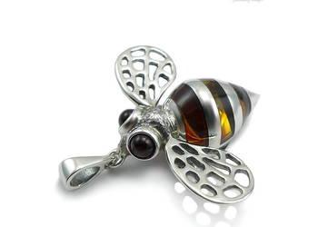 Bombus - Trzmiel - uroczy wisiorek srebrny na prezent