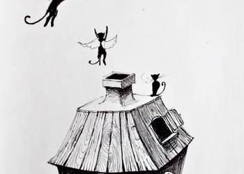 """Rysunek piórkiem """"Kocie marzenia"""" artystki Adriany Laube"""