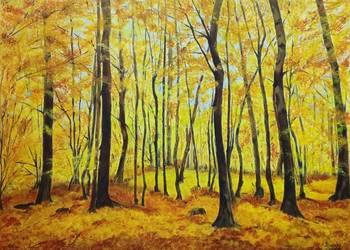 Obraz 70x50, akryl na płótnie - pejzaż, jesień, las